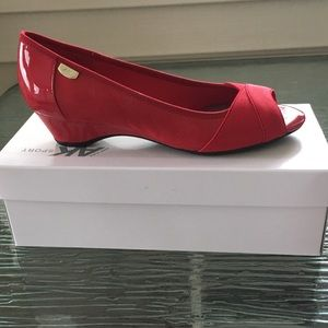 New Anne Klein Sport Red open toe wedge. Size 7.5